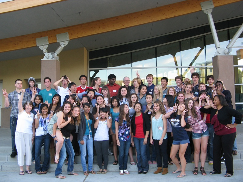 Davis Honors Challenge students show off their goofy poses in front of Wall Hall in 2011.