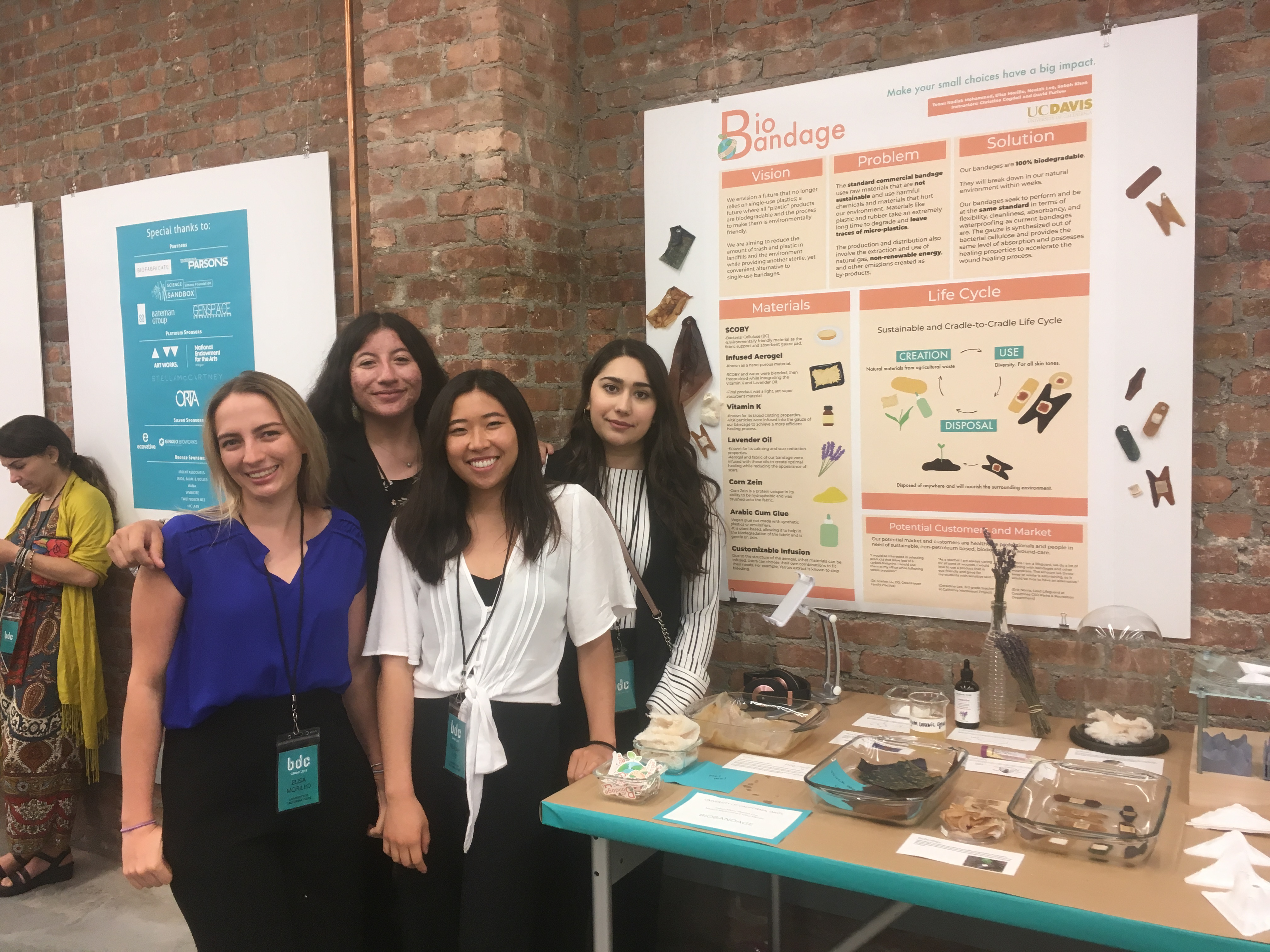 The 2019 BioDesign team gallery. From left to right: Elisa Morillo, Nadiah Mohammed, Nealah Lee, and Sabah Khan.