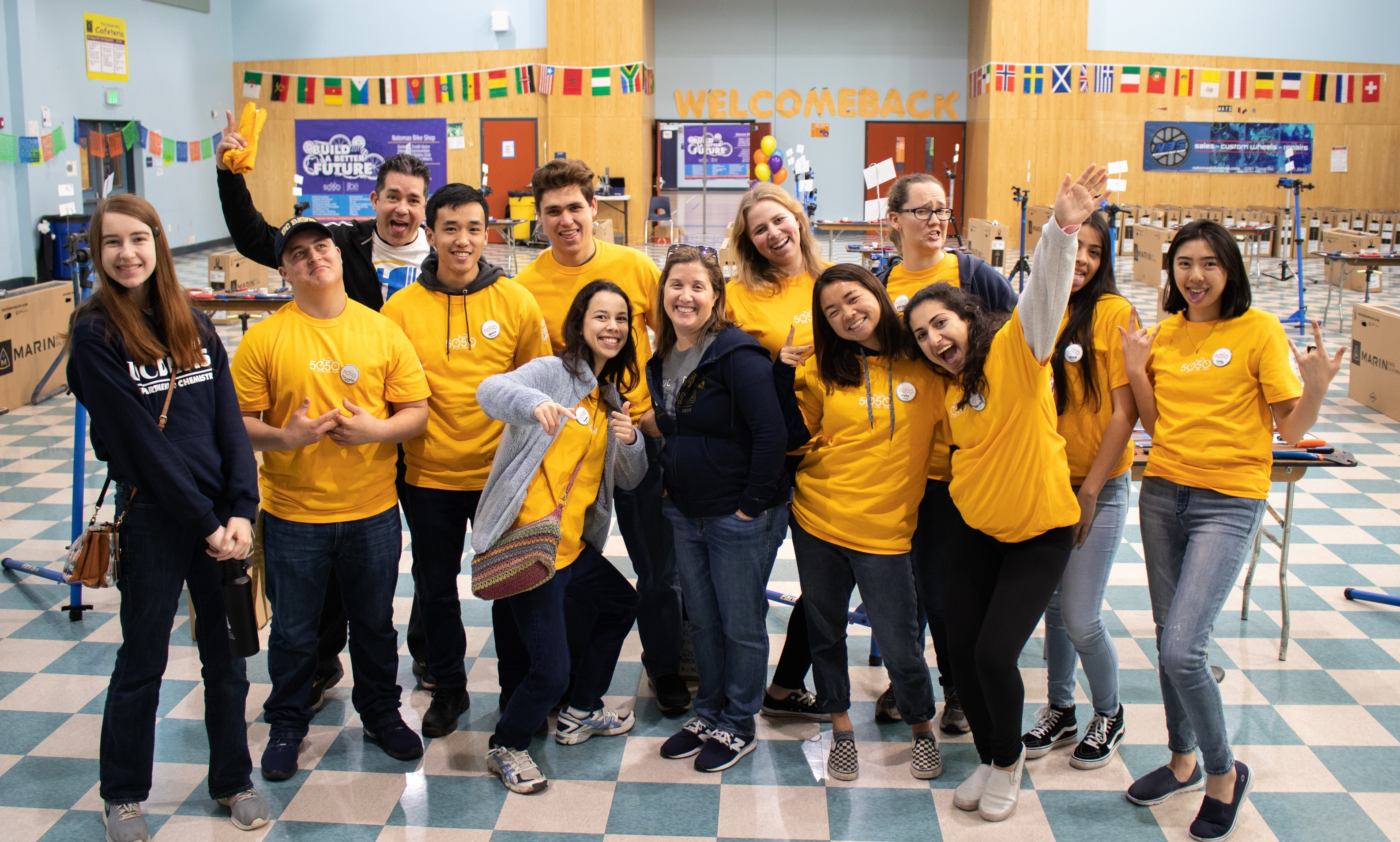 University Honors Program students and staff volunteer at 50 Bikes for 50 Kids on Martin Luther King Jr. Day in January 2019.