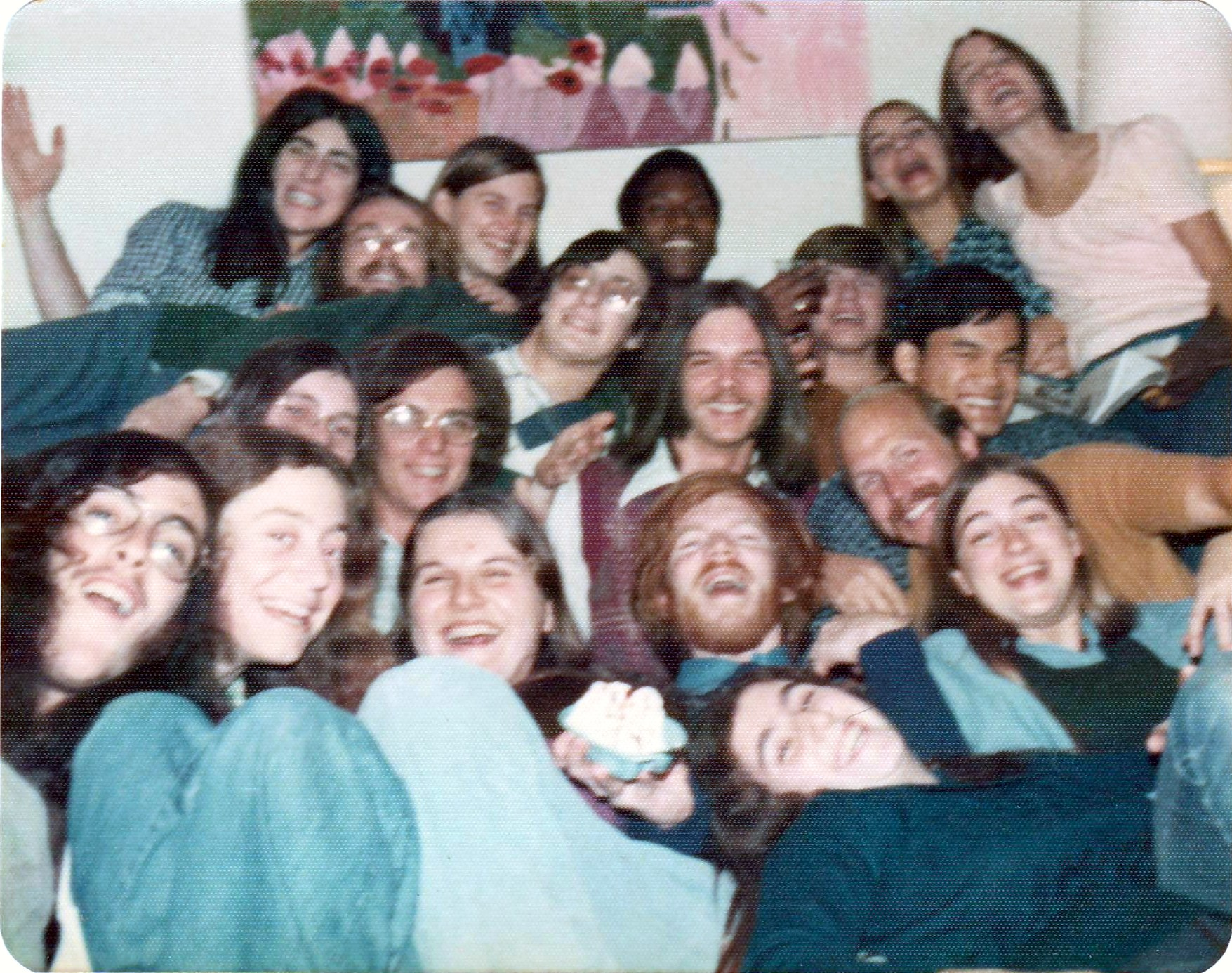 Rick Kamins with Itegrated Studies students and friends, 1973-74