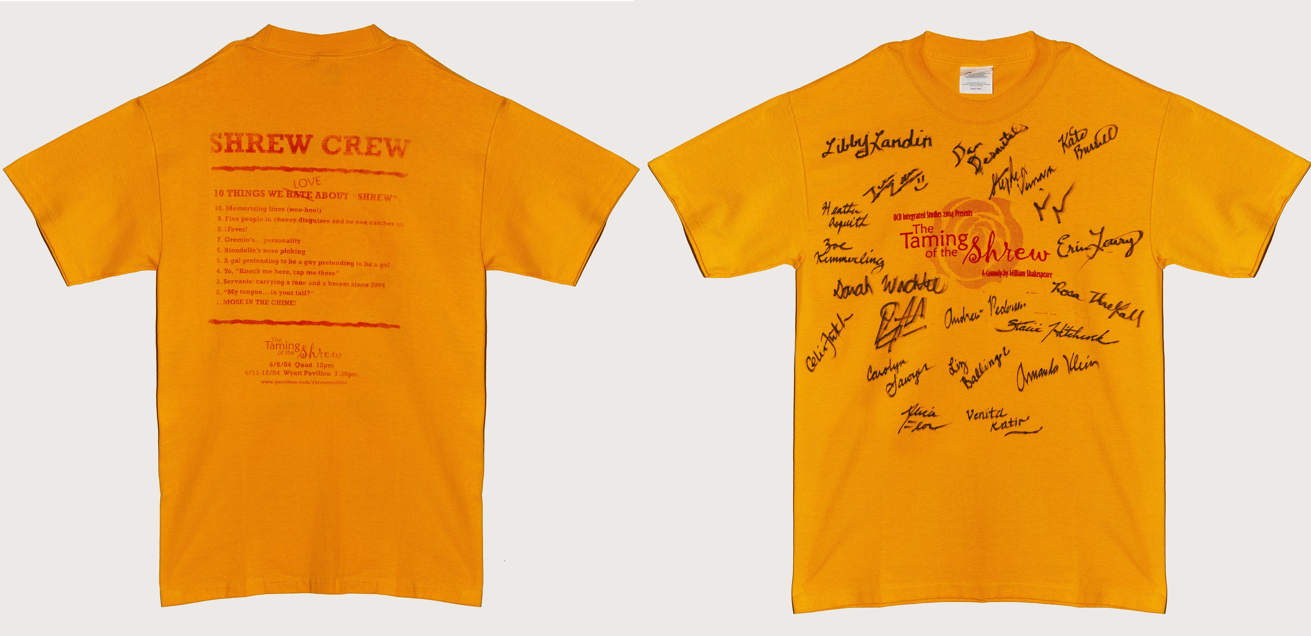 UC Davis Integrated Studies Signed Taming of the Shrew T-shirt