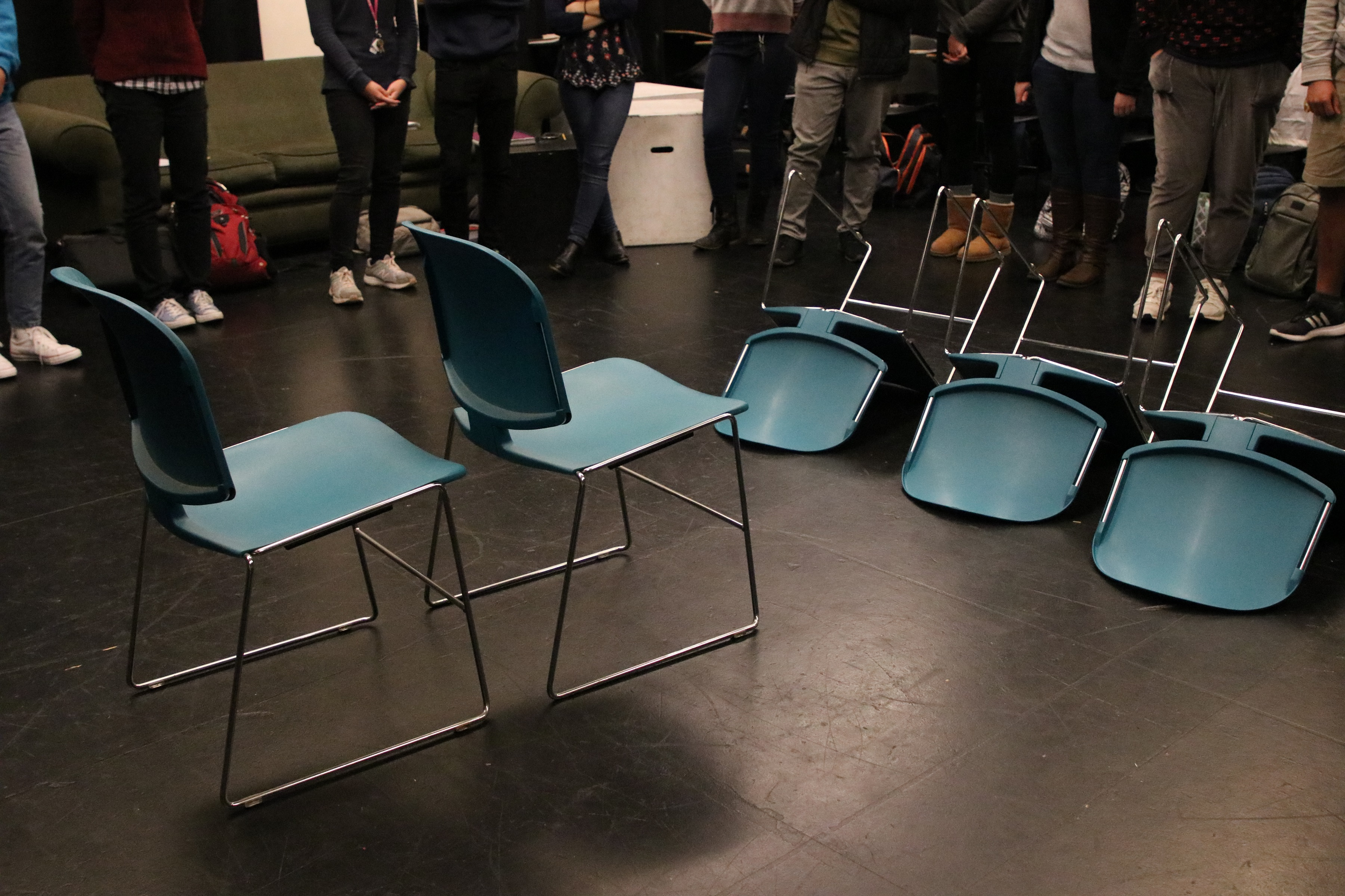 UC Davis University Honors Program DRA 1 Course - Improv Lesson Arranging Chairs