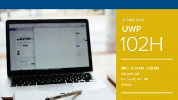 Spring 2019 UC Davis University Honors Program Course: UWP 102H