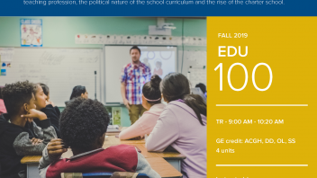 Fall 2019 UC Davis University Honors Program Course: EDU 100
