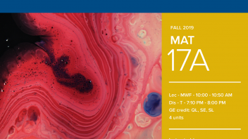 Fall 2019 UC Davis University Honors Program Course: MAT 17A