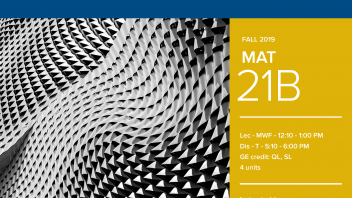 Fall 2019 UC Davis University Honors Program Course: MAT 21B