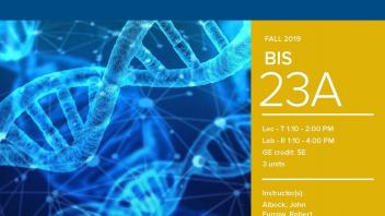 Fall 2019 UC Davis University Honors Program Course: BIS 23A