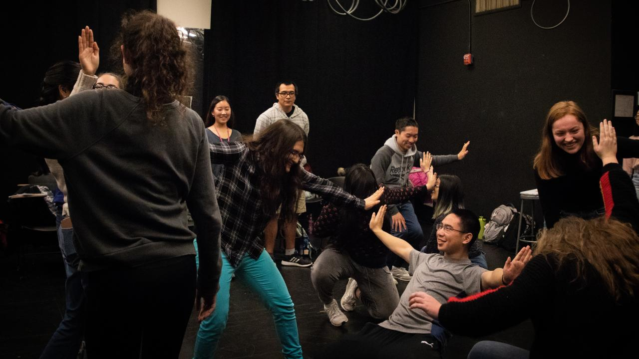 UHP students in Dr. Lawrence Bogad's Drama 1, one of UHP's interactive honors courses.