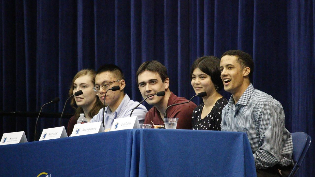 Student panelists share their honors experience at the 2019 Preview Day (left to right): Janae Bonnell, Henry Low, Grant Cottier, Jeske Dioquino, and Evan Dumas.