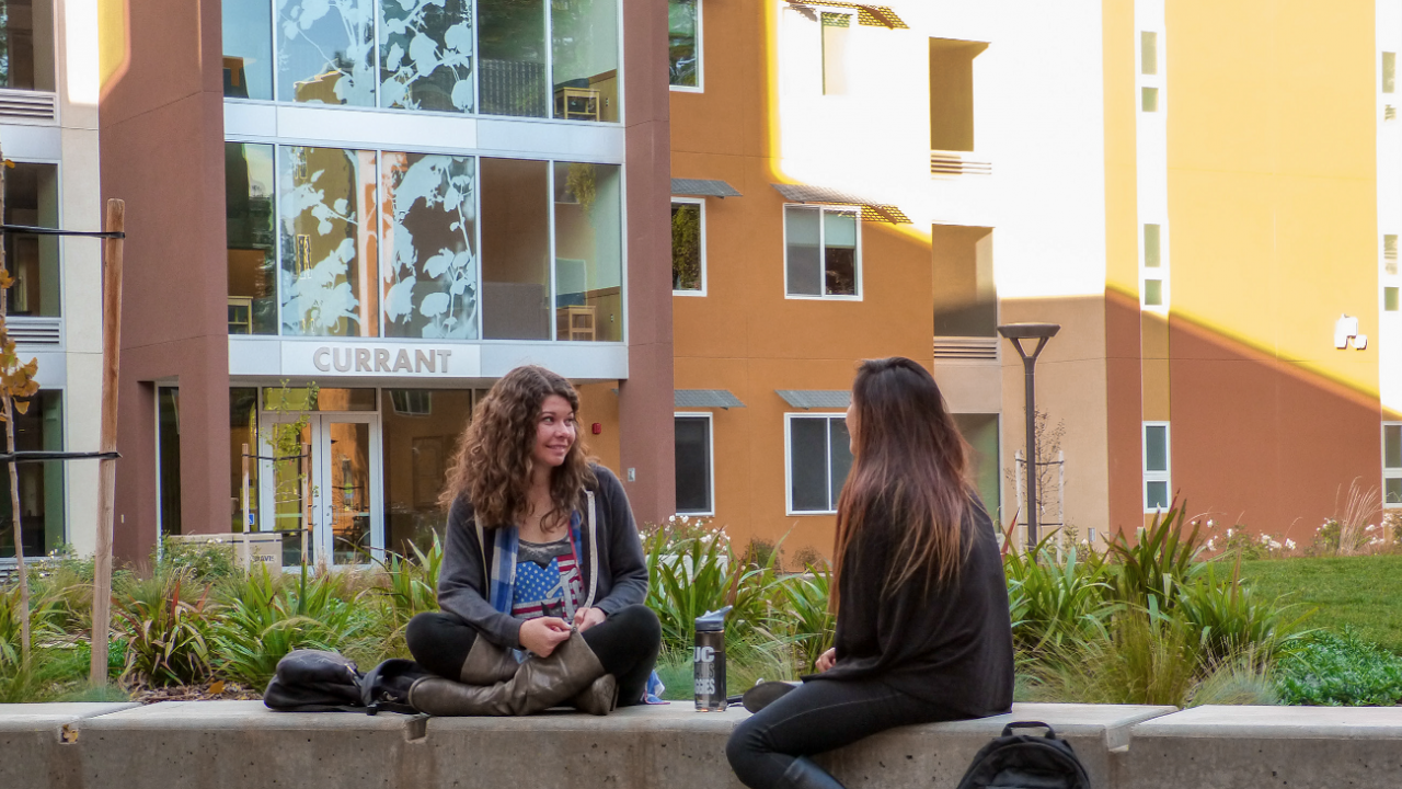 Students chatting outside of Currant Hall, the current Living Learning Community for the University Honors Program.