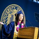 Emily Eijansantos giving UC Davis College of Biological Sciences Commencement Speech